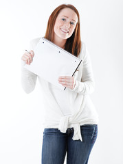 young college student with notebook