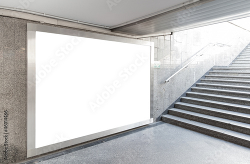 Plexiglas Tunnel Blank billboard in hall
