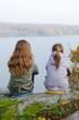 Kids enjoy autumn's lake view