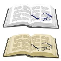 Libro abierto y gafas graduadas