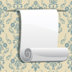 roll of paper on seamless wallpaper