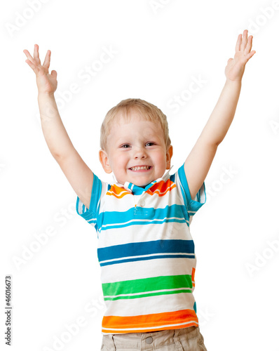 portrait of happy kid boy isolated on white background