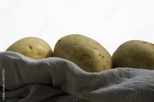 Potatoes in a white rag