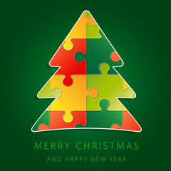 Christmas tree puzzle greeting card