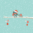 Bird Pulling Sleigh With Gift On Tree Retro