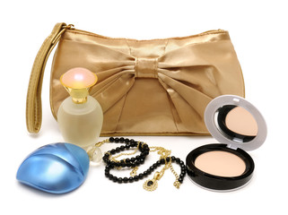 Handbag, perfume, powder, necklace isolated on white background
