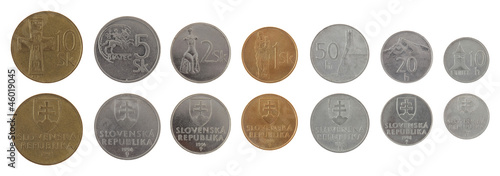 Old Slovak Coins Isolated on White