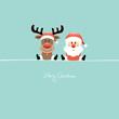 Sitting Rudolph & Santa Retro