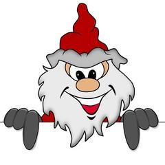 Weihnachtsmann mit Werbeschild