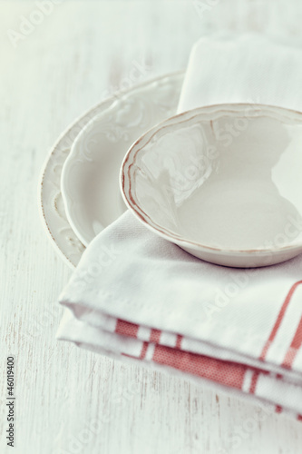 Vintage crockery and tea towels