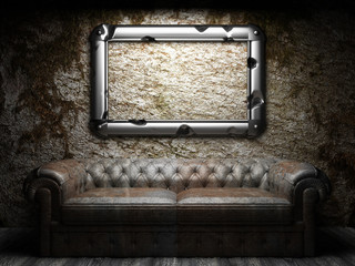 leather sofa and frame in dark room