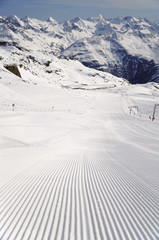 Fresh ski track at Soelden glacier