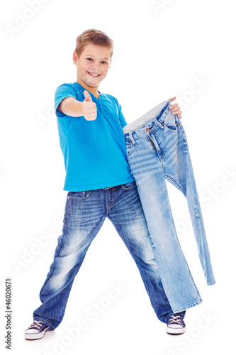 Happy boy with jeans