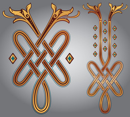 Abstract Celtic zoomorph motifs