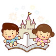 Boys and girls sitting on top of a popup book. Vector Character