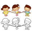 Rope skipping a boys and girls. Sport Games Character Design