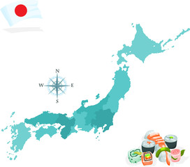 Map of Japan, regions and islands