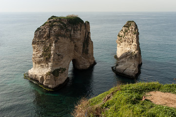 The Pigeon Rocks in Beirut, Lebanon