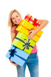 Young attractive laughing woman with gifts