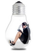 Businesswoman working in a lamp