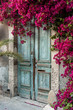 Leinwanddruck Bild - Old wooden door with bougainvillea in Cyprus