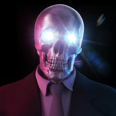 Toter Geschäftsmann Banker Totenkopf im Anzug 3D
