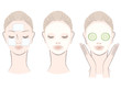 Set of elegant, beautiful, hand-drawn like woman with face mask
