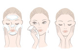 Set of fresh beautiful woman in process for washing face