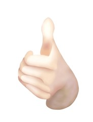 Front View of Thumbs Up for Like Signals