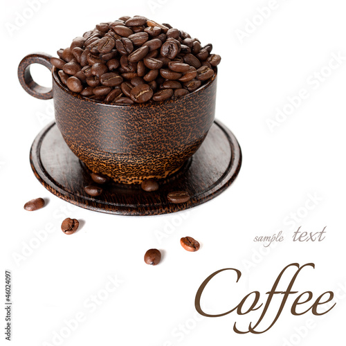 Coffee beans with sample text on a white background