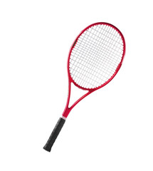 Red tennis racket isolated white background