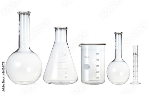 canvas print picture Test-tubes isolated on white. Laboratory glassware