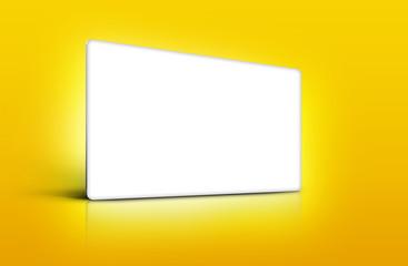 Panneau de présentation blanc sur fond jaune