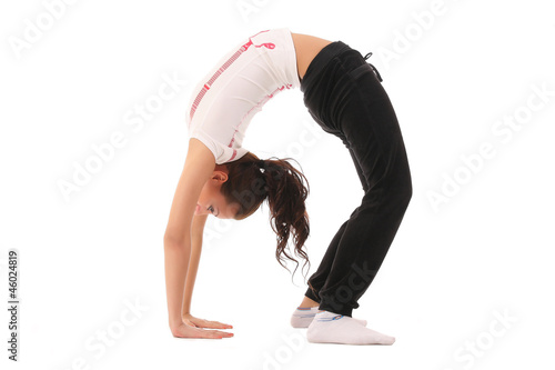 girl does stretching