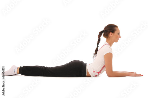 Young woman training yoga
