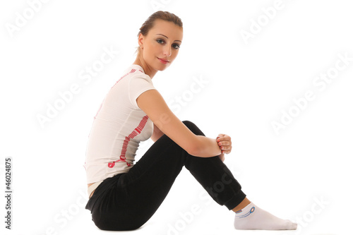 athletic girl isolated on white
