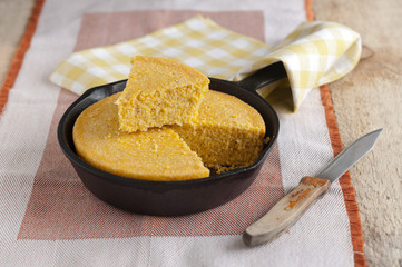 corn Bread in a cast iron skillet
