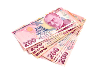 Türk parası, two hundred Turkish Lira white background