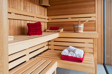 Inside a sauna room