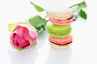 rose and macarons