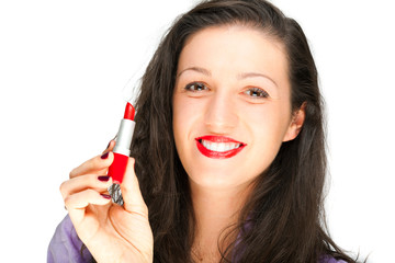 Woman holding a lipstick