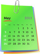 Calendar for may 2013 on colorful sticky notes