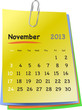 Calendar for november 2013 on colorful sticky notes
