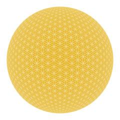 Blume des Lebens Isoliert - Weiß Gold 3D Kugel