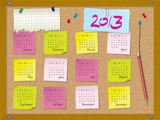 2013 calendar - week starts on Sunday - cork board with notes