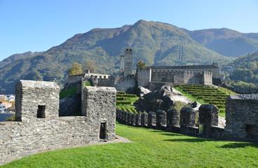 Ancient fortifications in Bellinzona, Switzerland