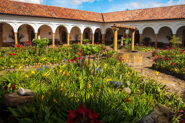 The courtyard of a monastery in Colombia