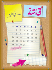 2013 calendar - month July - cork board with notes