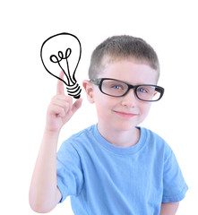 Smart School Boy with Light Bulb