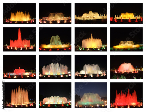 Collage de la Fuente Mágica en Montjuic - Barcelona, Spain